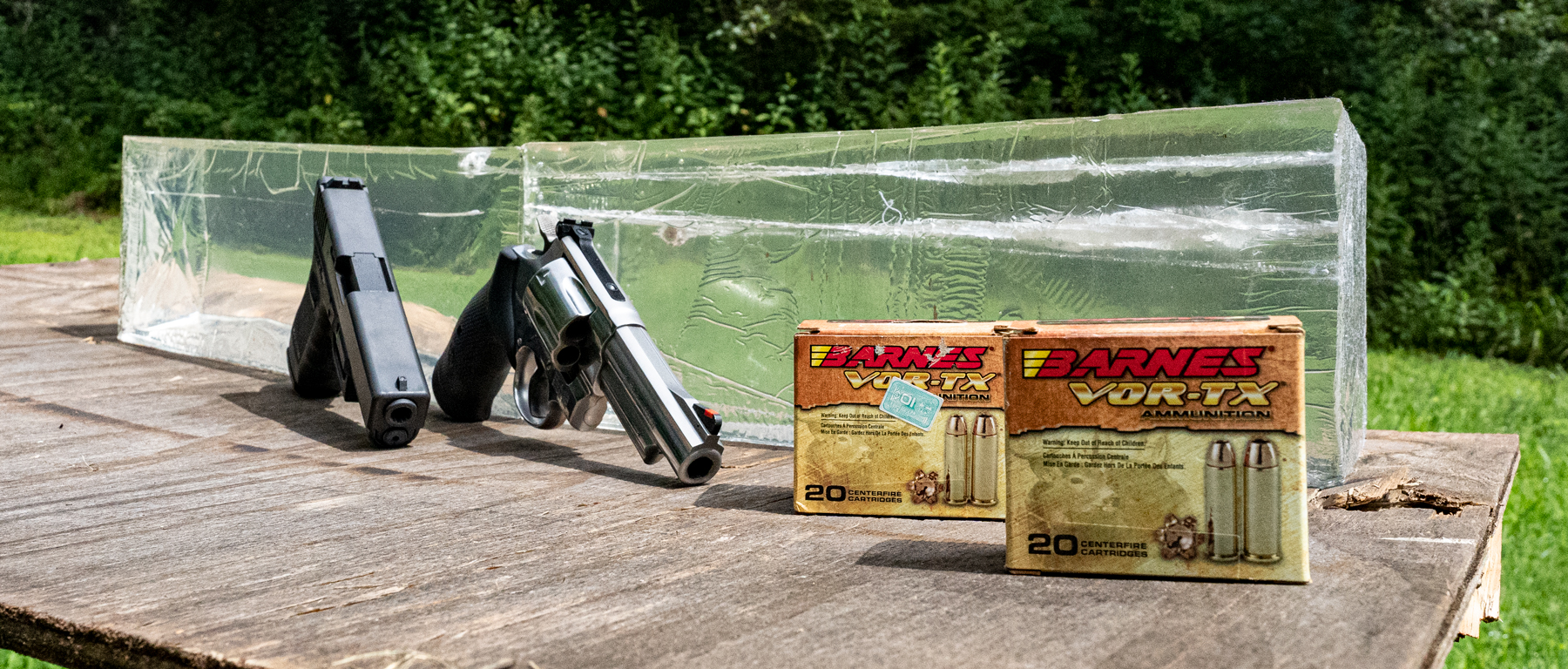 Comparing 10mm and 44 magnum ammo and guns with ballistic gel at a shooting range