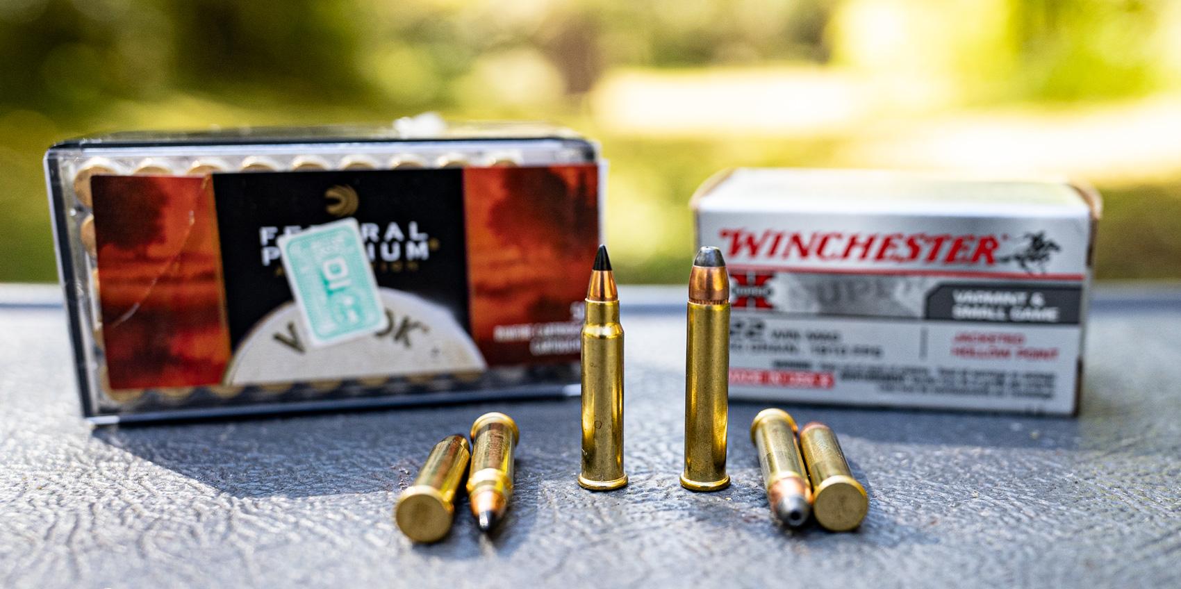 17 HMR ammo vs 22 WMR ammo on a shooting bench
