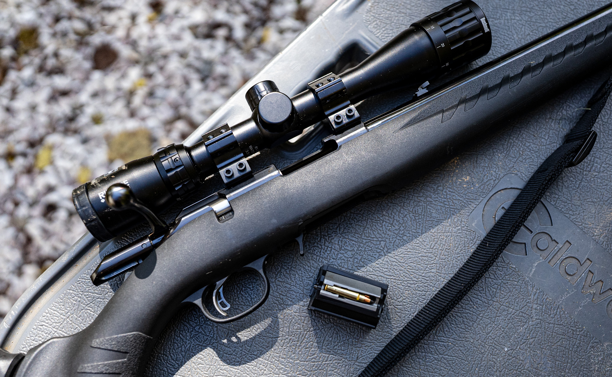 17 HMR rifle and ammo on a shooting bench