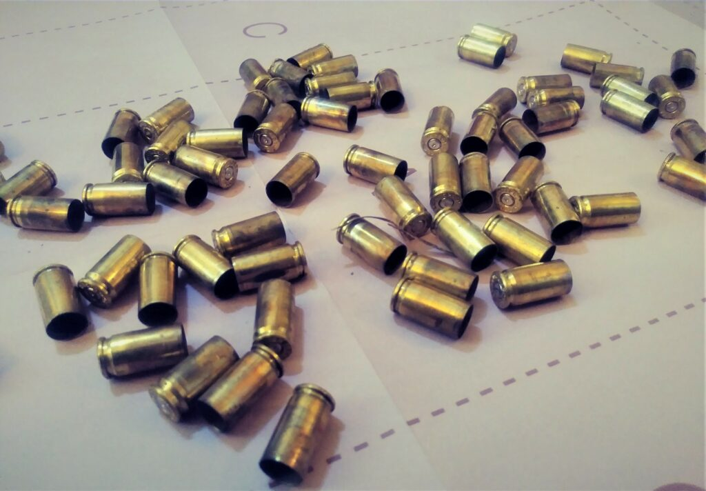 Empty ammo casings on a target