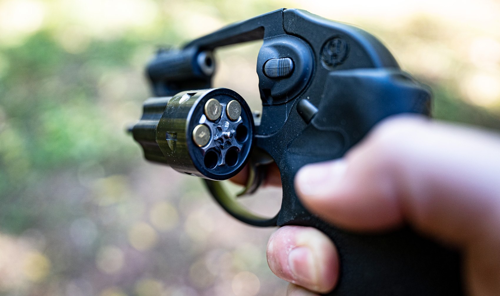 A revolver chambered for use with 22 magnum ammo