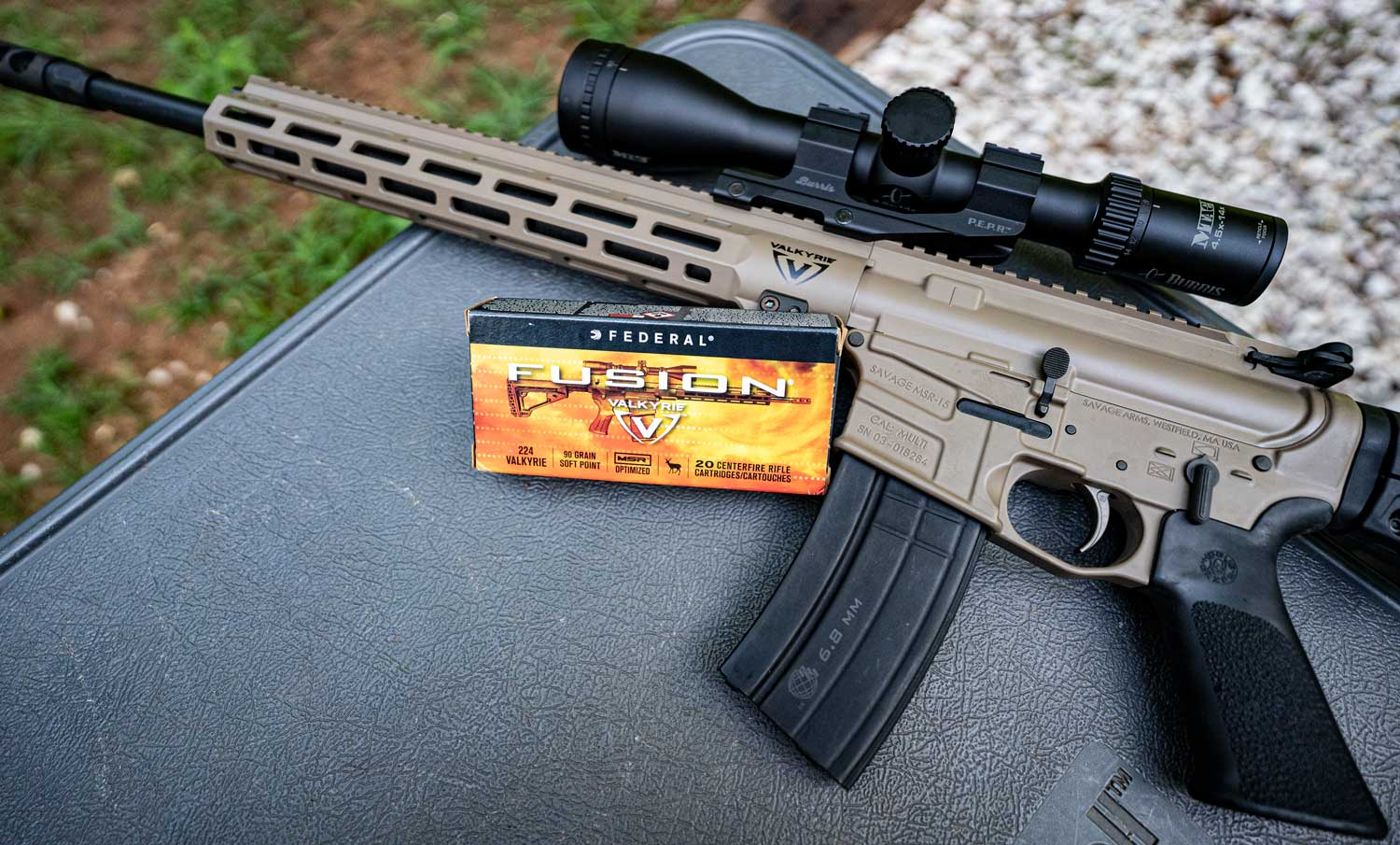 .224 Valkyrie carbine with Federal Fusion ammo on a shooting bench