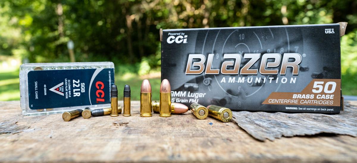 22LR next to 9mm ammo