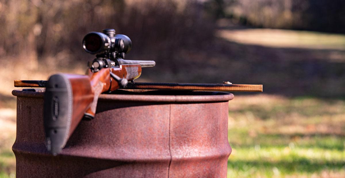 A 30-06 rifle barrel pointed down range