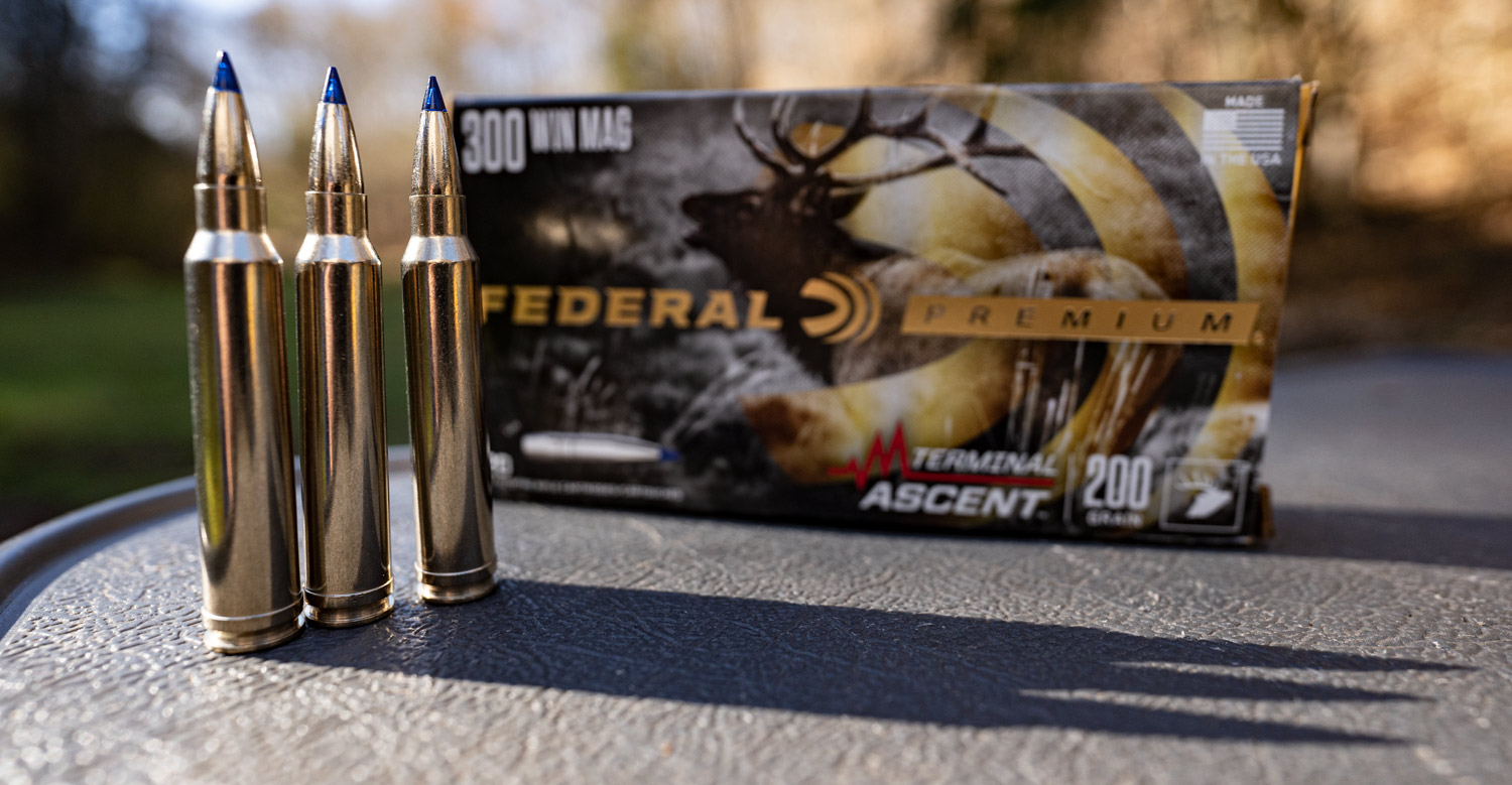 Federal 300 win mag ammo on a shooting bench