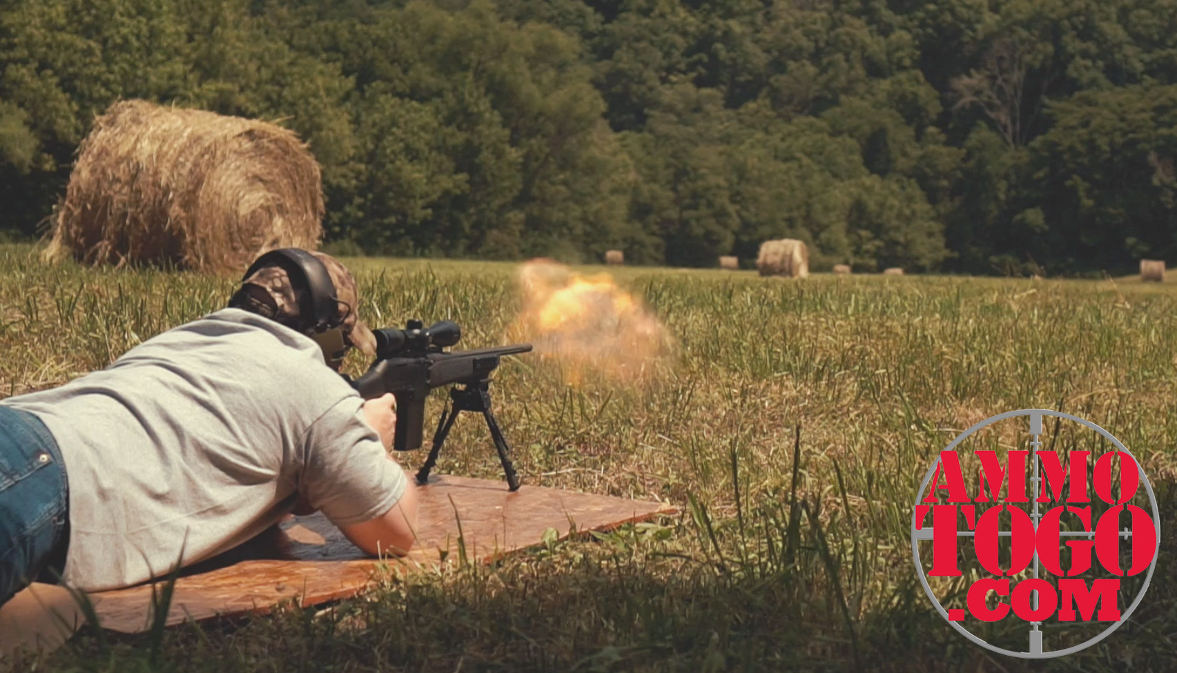 photo of man shooting 308 rifle in the prone position