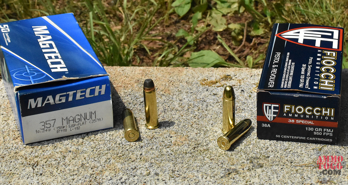 magtech 357 magnum vs. Fiocchi 38 special ammo on a cinder block