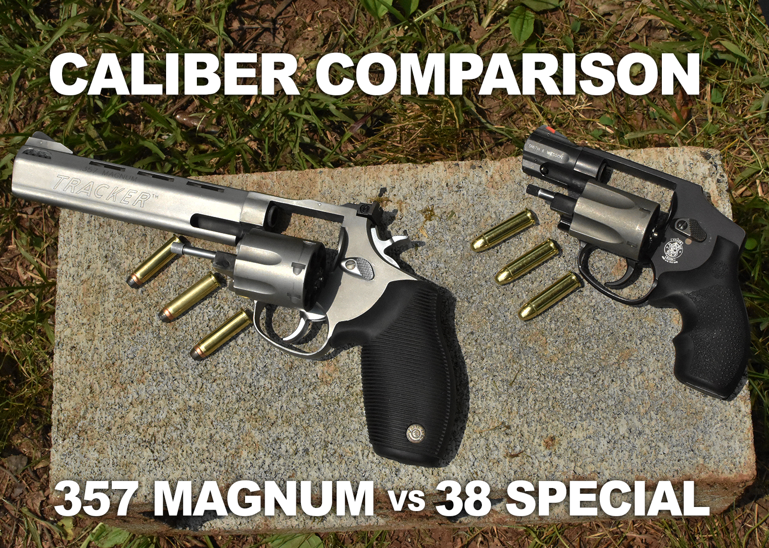 38 special vs. 357 magnum - revolvers on a cinder block with ammo