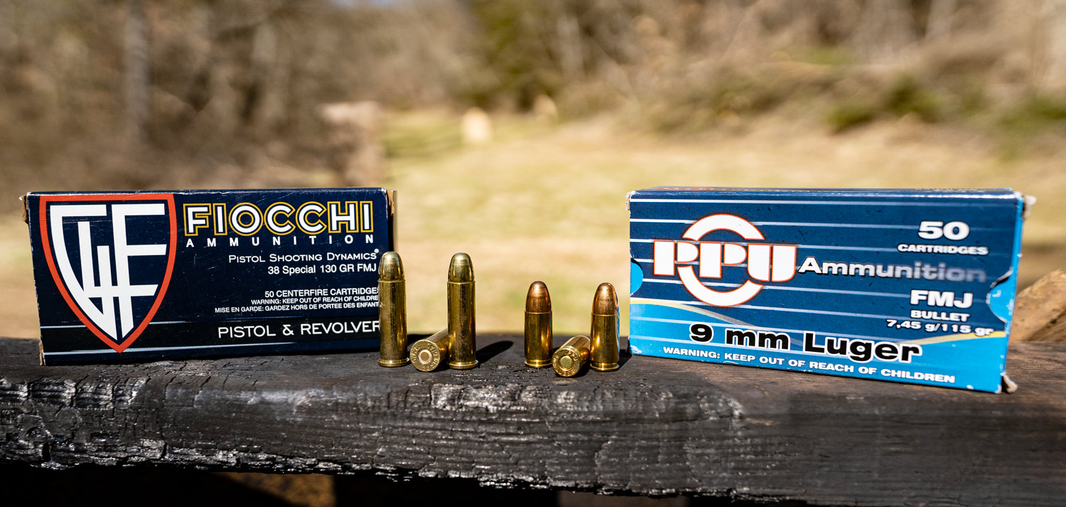 38 special vs 9mm ammo side by side