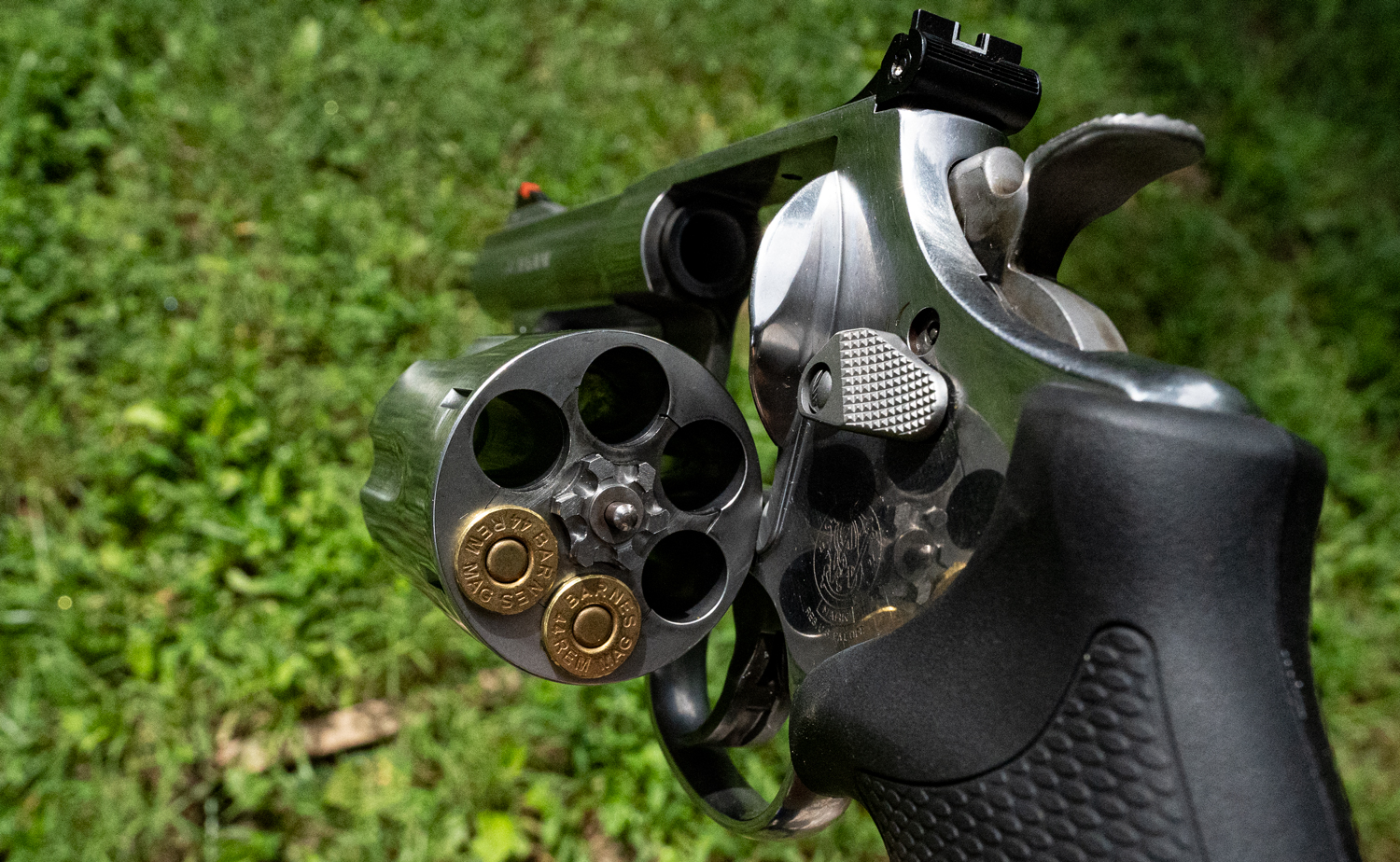 A 44 magnum Smith & Wesson revolver with ammo in the cylinder