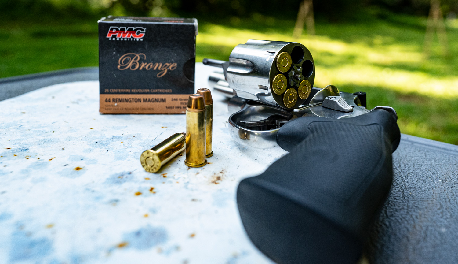 44 magnum ammo with revolver at a shooting range