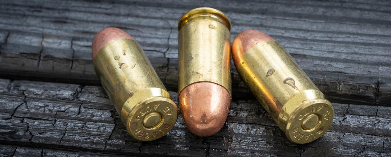 45 ACP ammo on a table