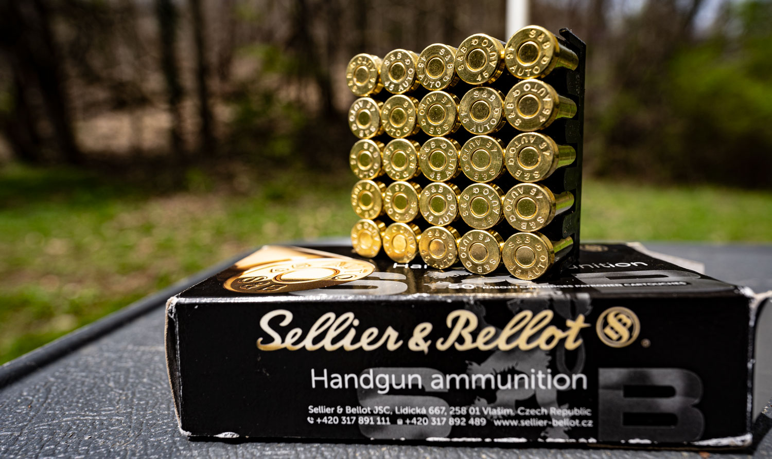 45 ACP ammo from Sellier and Bellot on a table.