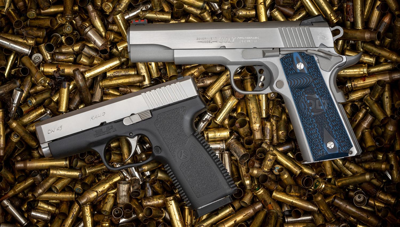 45 auto and 38 super pistols
