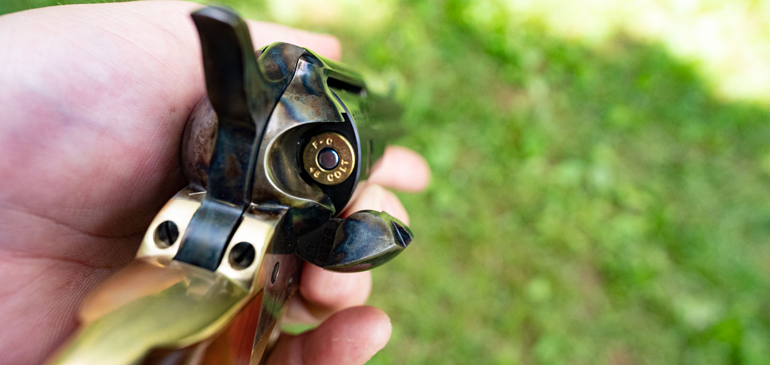 45 long colt revolver with open cylinder