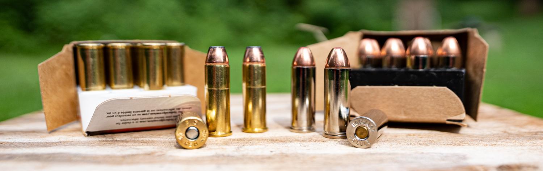 45 long colt vs 44 magnum ammo side by side