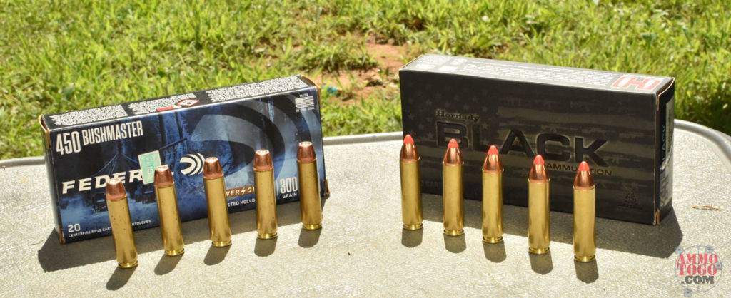 450 Bushmaster ammo on a table