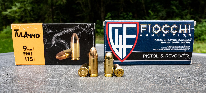 9mm vs. 380 ammo side by side