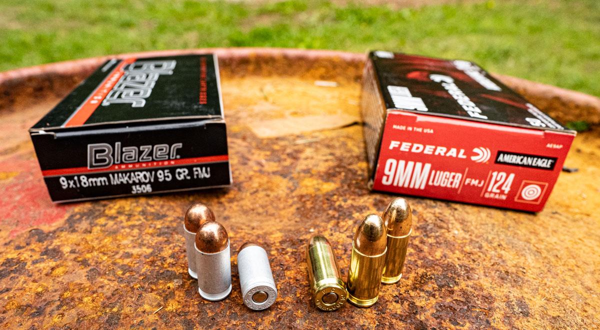 9x18 vs 9x19 ammo side by side