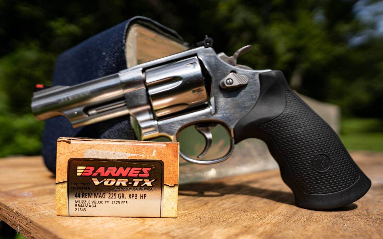 A 44 magnum revolver by Smith & Wesson with Barnes ammunition