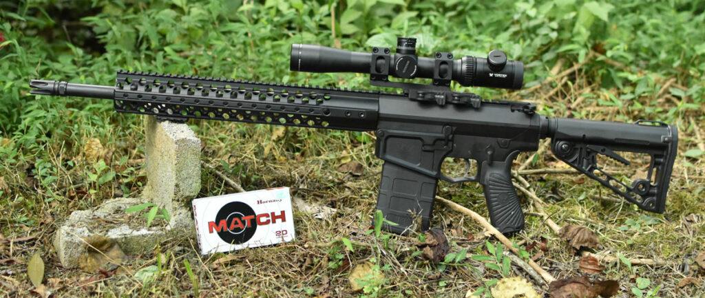 AR-10 vs AR-15 - close-up of the AR-10 carbine
