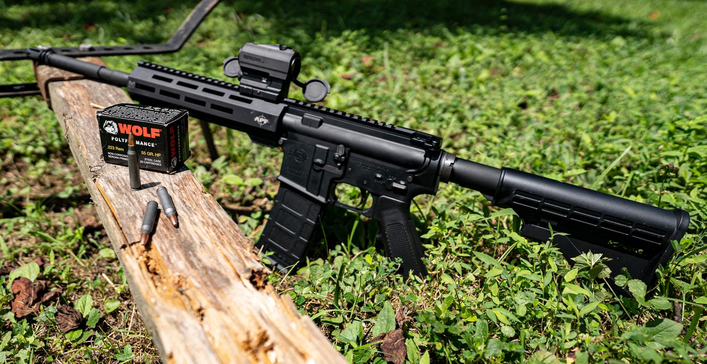 An AR-15 with 223 ammunition