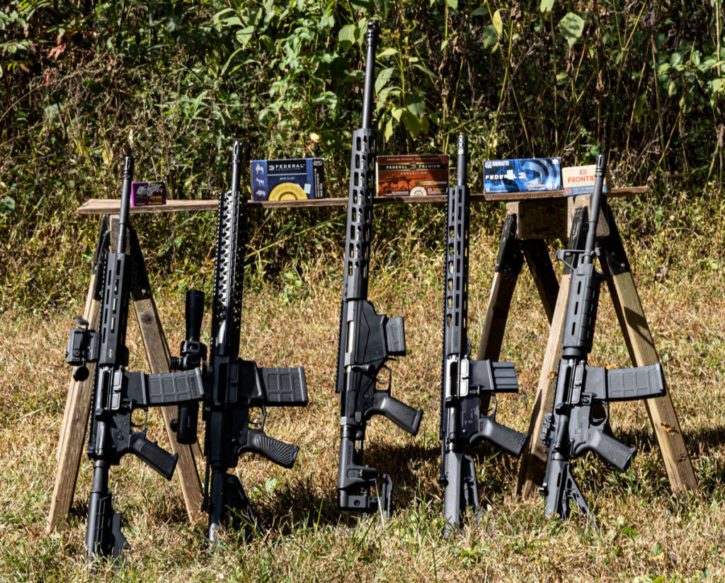 AR calibers for deer hunting lined up