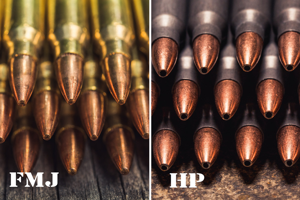 phot of full metal jacket and hollow point bullets side by side