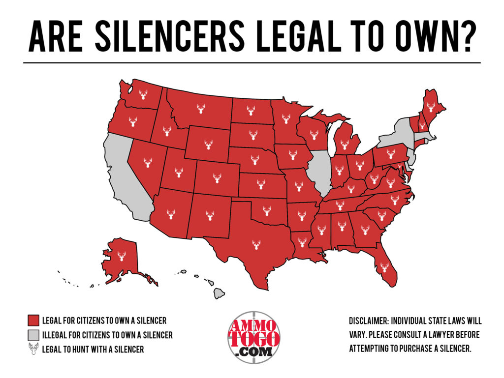 A map of the United States showing where silencers and suppressors are legal to own