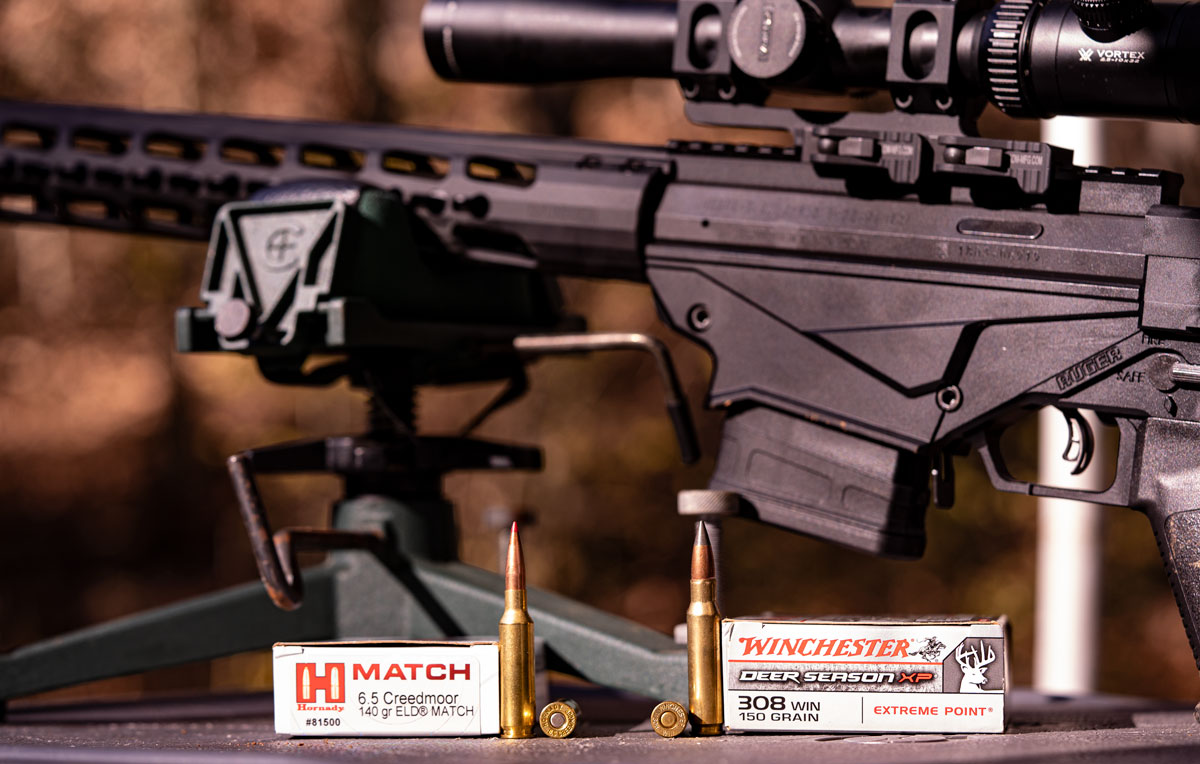 .308 and 6.5 creedmoor ammo side by side at the range