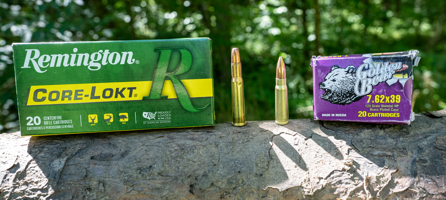 30-30 ammo side by side with 7.62x39 ammo