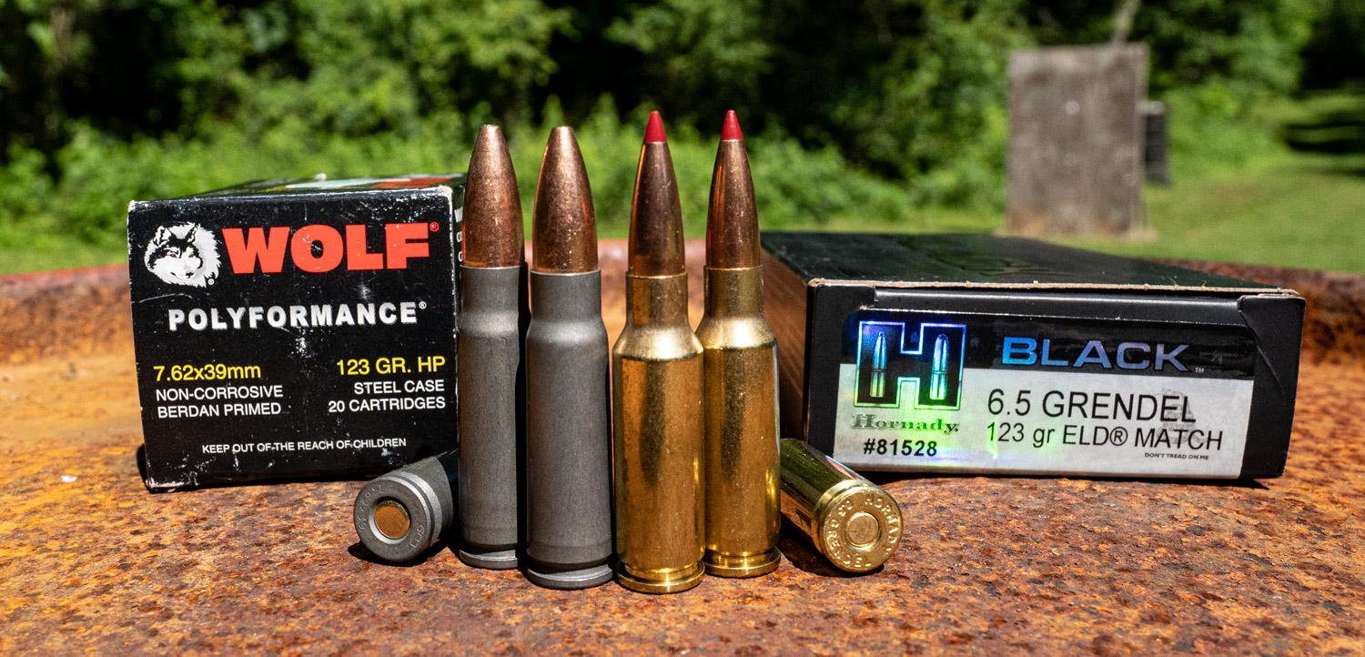 A 7.62x39 vs 6.5 Grendel ammo side by side comparison