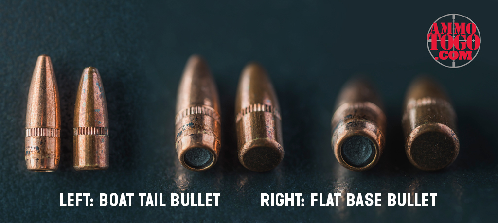 boat tail bullets next to flat base bullets