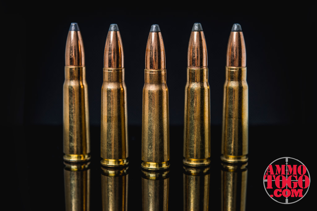 A row of soft point lead bullets