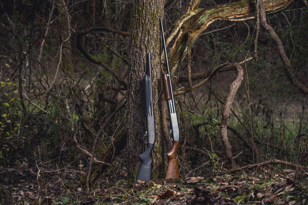 photo of a 12 gauge and a 16 gauge shotgun outdoors
