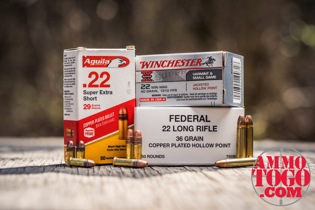 photo of rimfire ammo in 22LR 22 short and 22 magnum outdoors