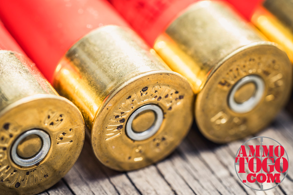 photo of winchester 12 gauge shotgun shells on plywood