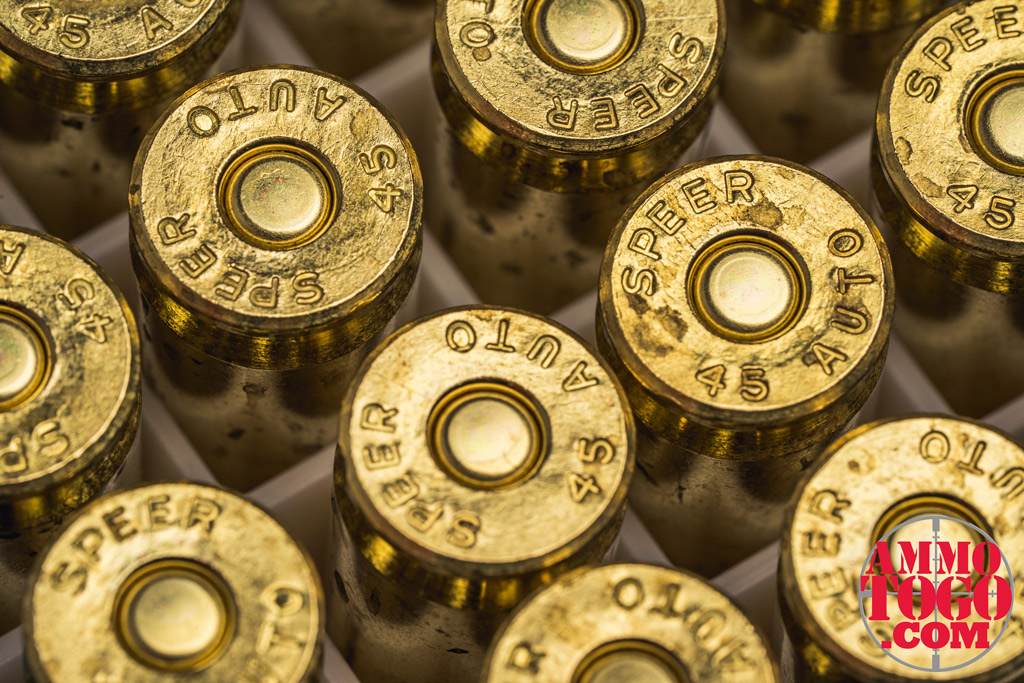 photo of 45 acp ammo up close in macro view