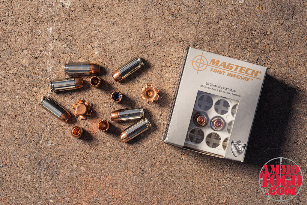 a photo of Magtech First Defense Justice 130-grain SCHP ammo outside