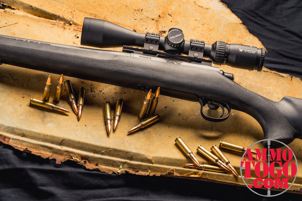 photo of remington 700 rifle with ammo