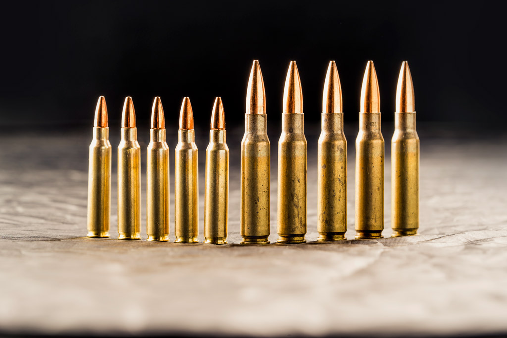 223 ammo next to 308 ammunition