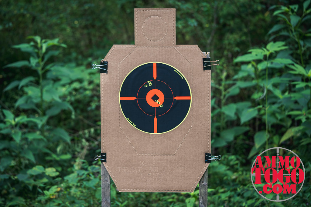 photo of a target in the woods shot with FMJ bullets
