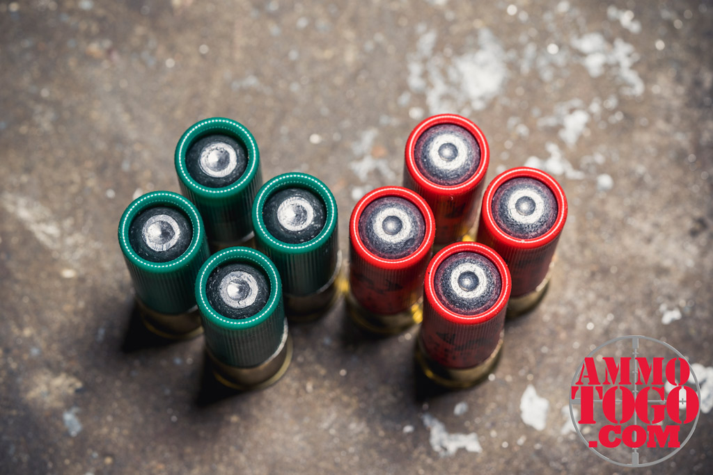 photo of rifled shotgun shells for use as 12 gauge shotgun ammo on a concrete floor