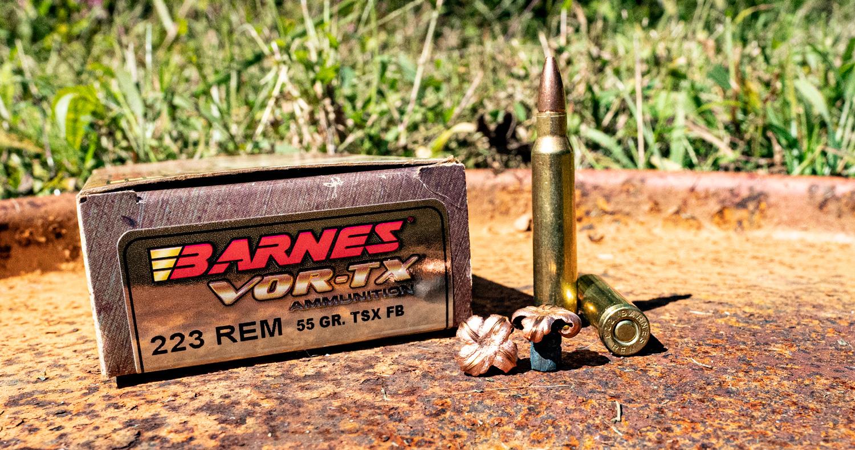 Barnes VOR-TX 223 ammunition displayed at a shooting range