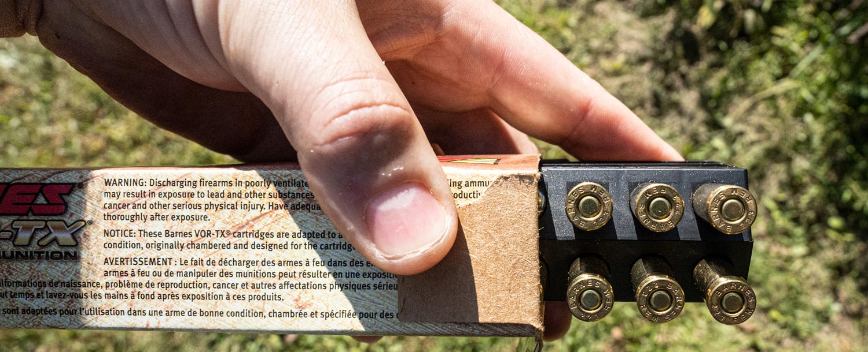 Barnes VOR-TX ammo box at the range