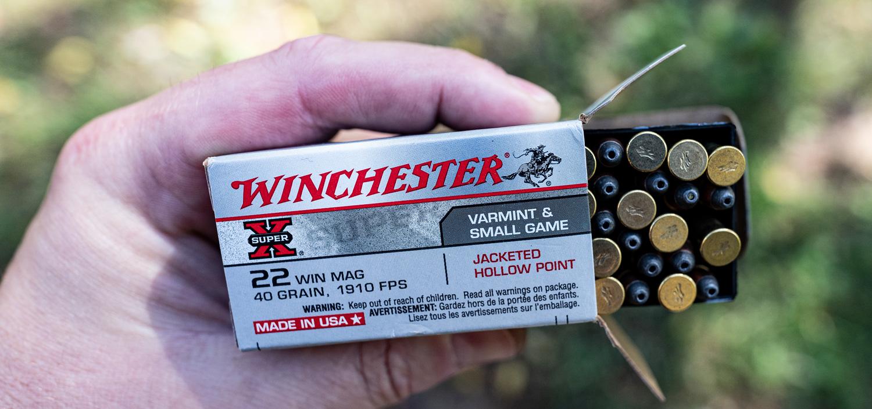 A box of Winchester 22 WMR ammunition