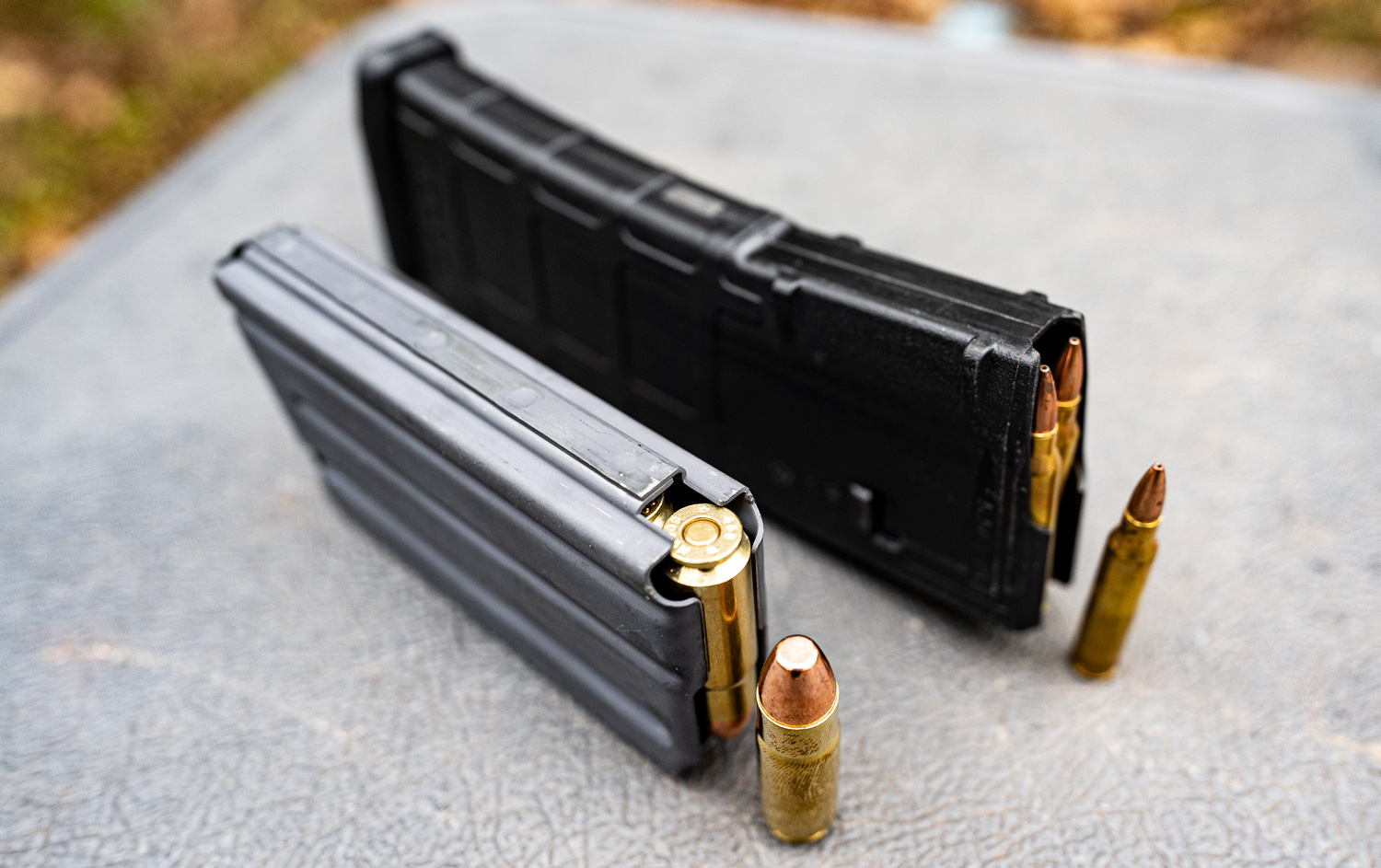 Rifle magazines demonstrating the capacity difference between 223 and 458 SOCOM