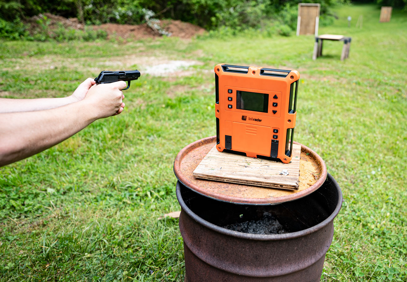 Chronograph testing ammo at the shooting range