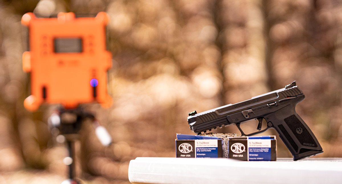 Chronograph testing 5.7x28 at a shooting range