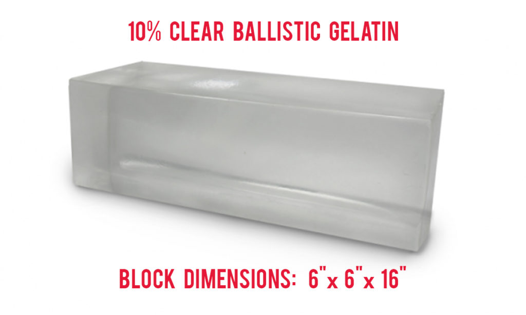 A detailed graphic of 10% clear ballistic gelatin.